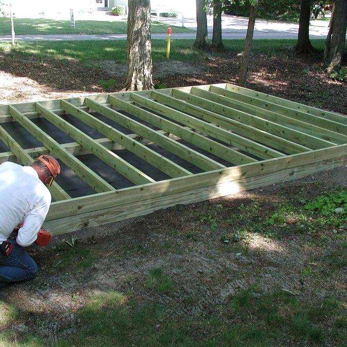 building base for studio shed