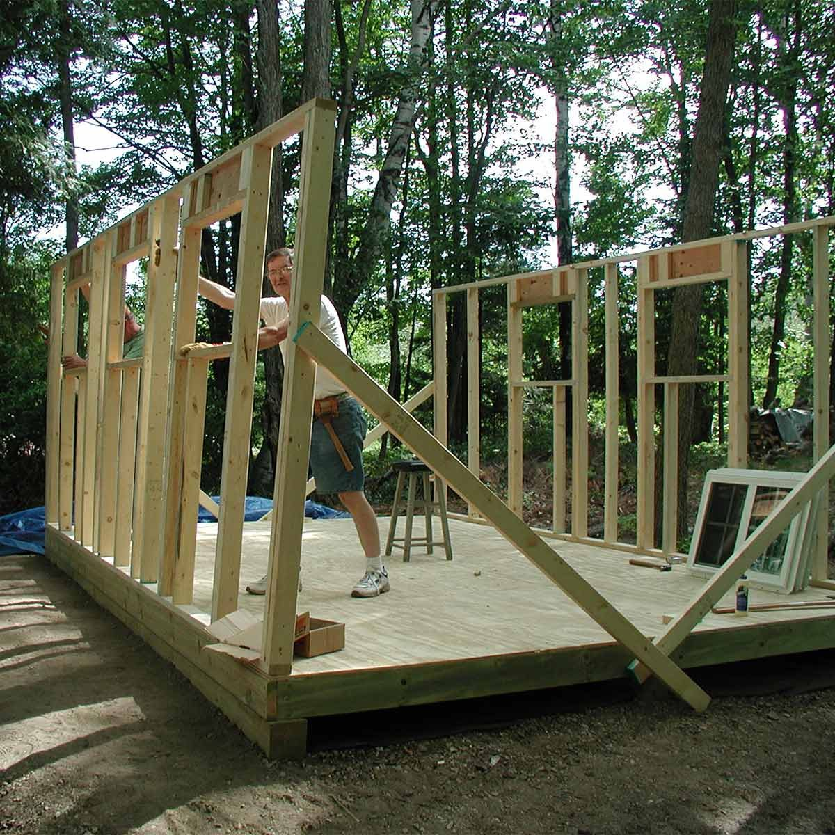 walls going up for studio shed