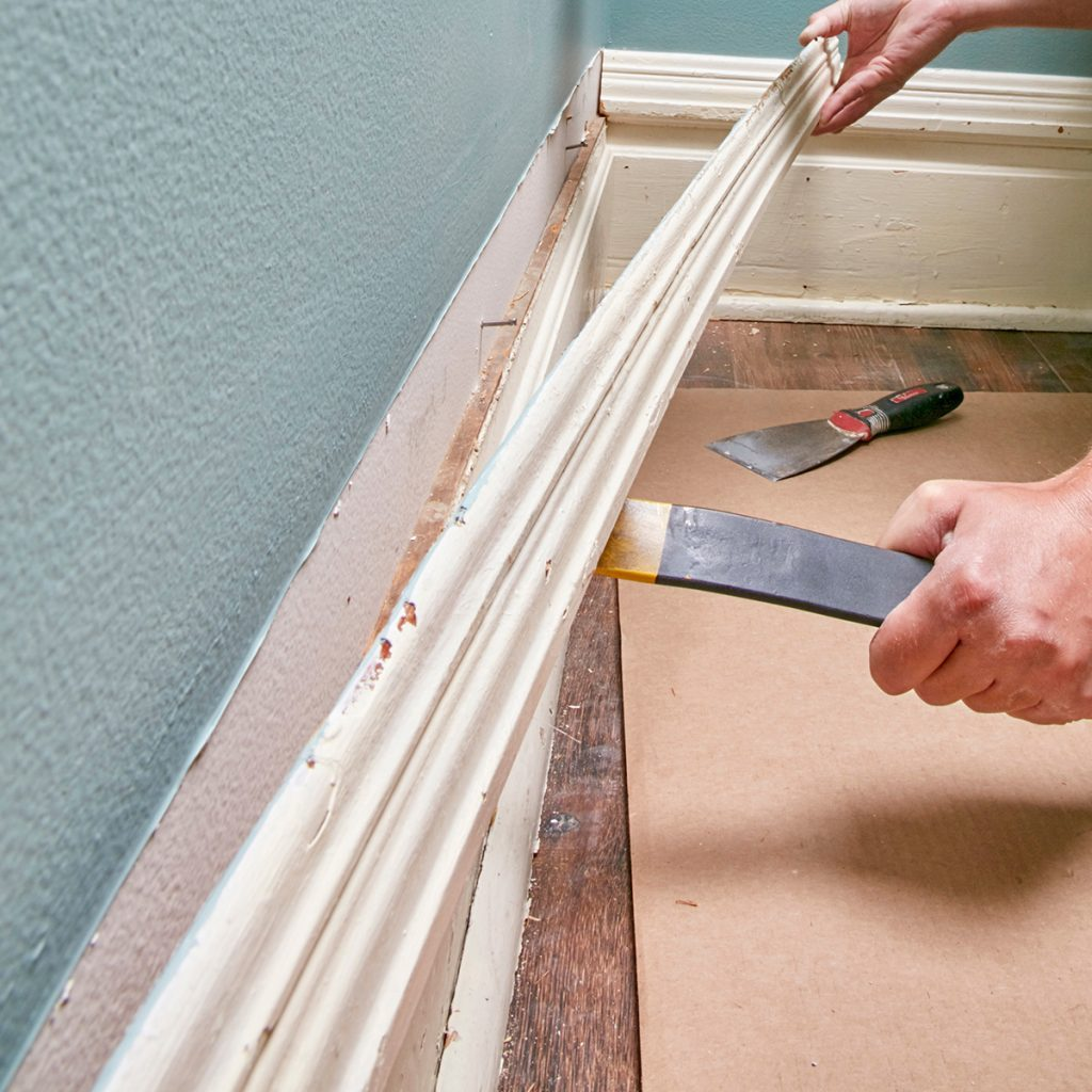 peeling trim away from the wall