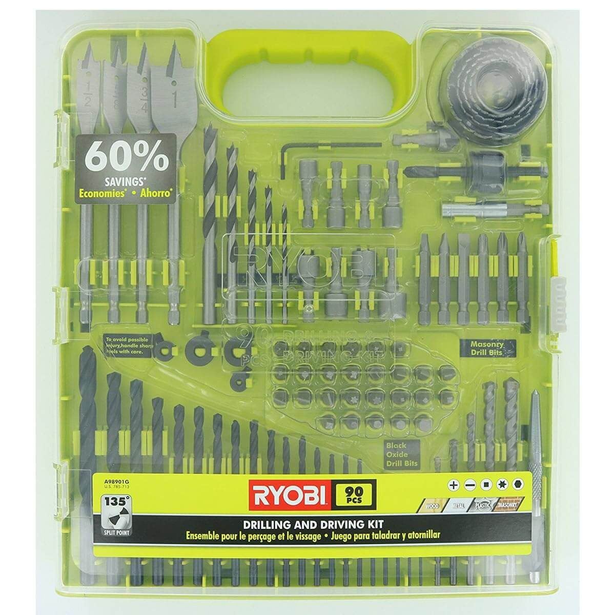 Ryobi 90-piece drill bit set