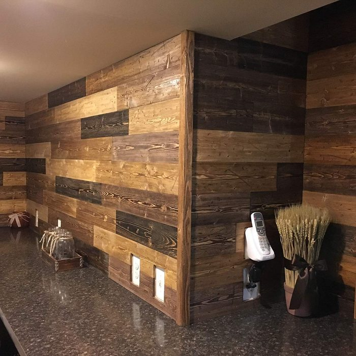 DIY Pine Accent Wall