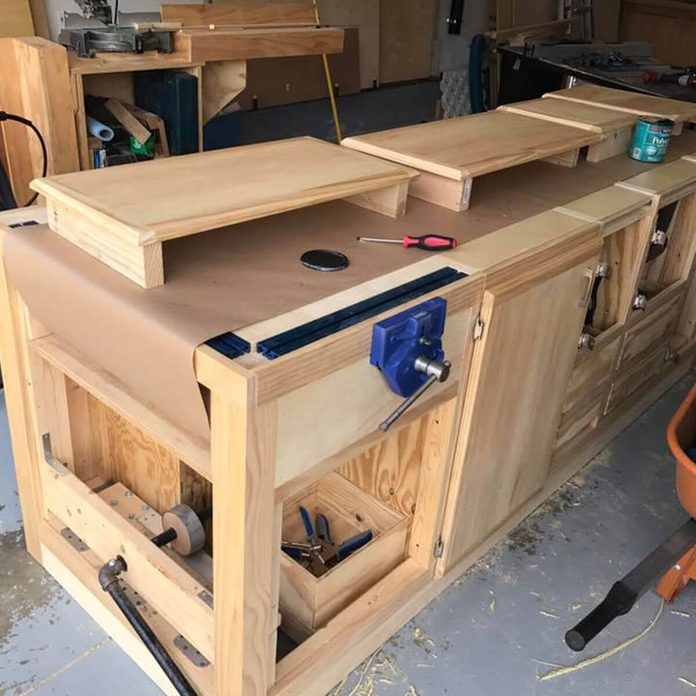 mounted kraft paper in workbench