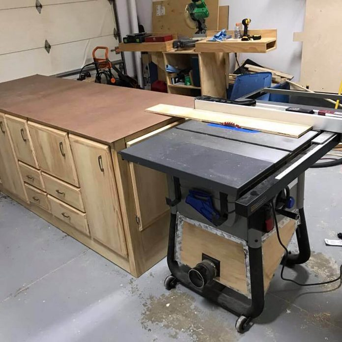 workbench with table saw