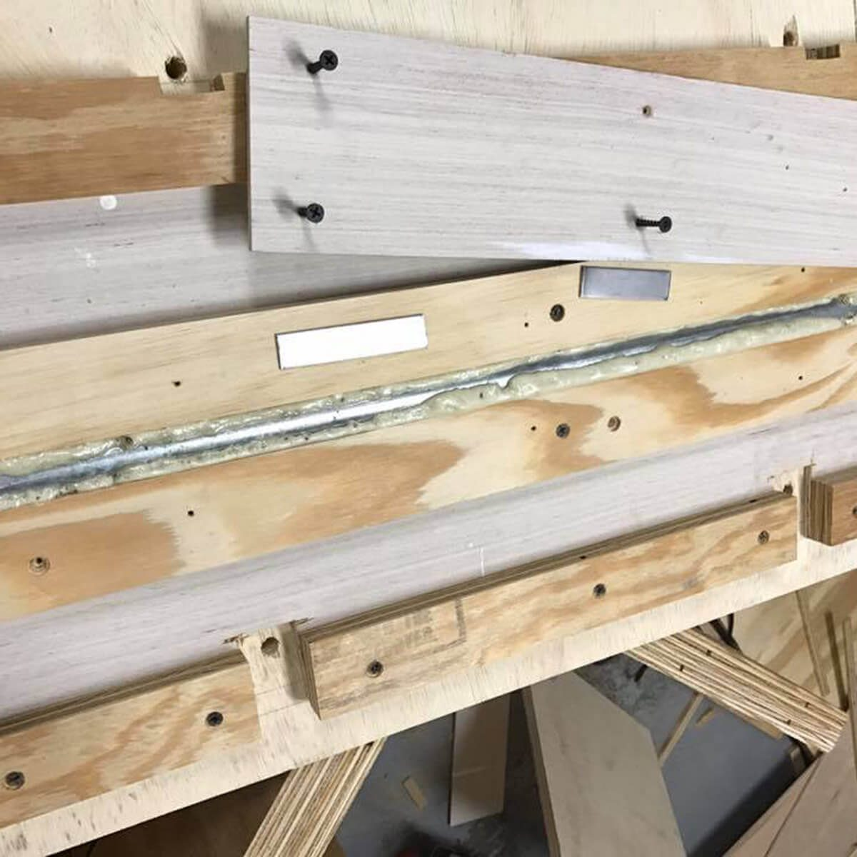 gluing bars in flip-top workbench