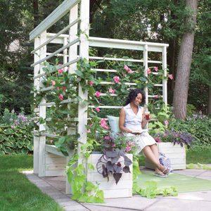 build a chair into a wood arbor