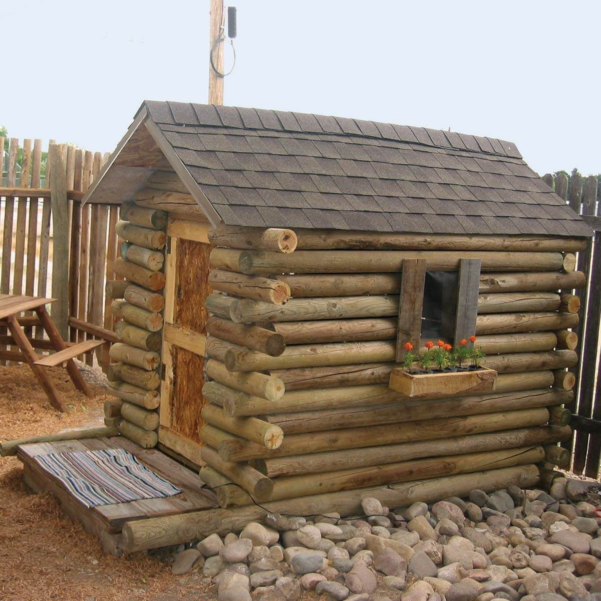 Five-Dollar Log Cabin Playhouse