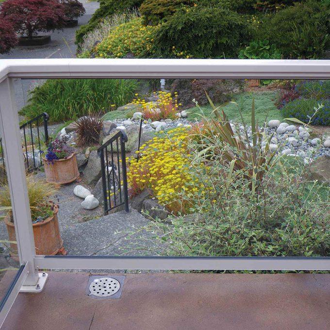 Close-up of glass panel railing