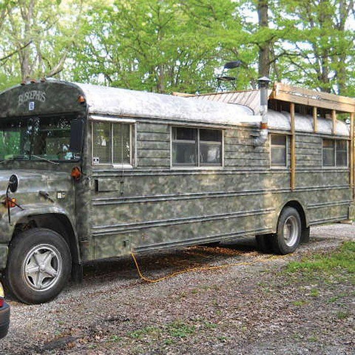 School Bus Turned Mobile Cabin