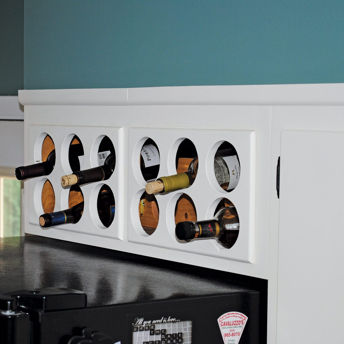 Above cabinet wine rack