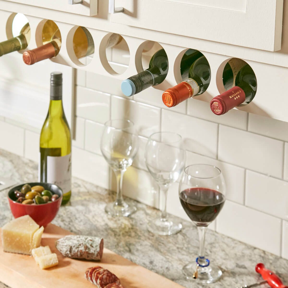tips for organizing your home under cabinet wine rack