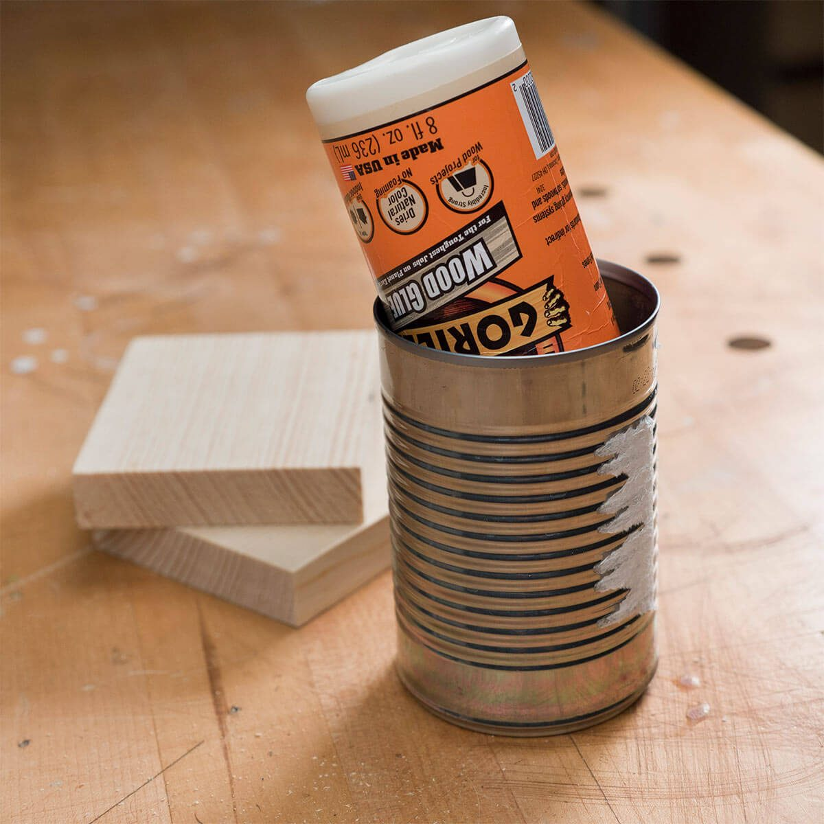 Tin Can Glue Bottle Storage