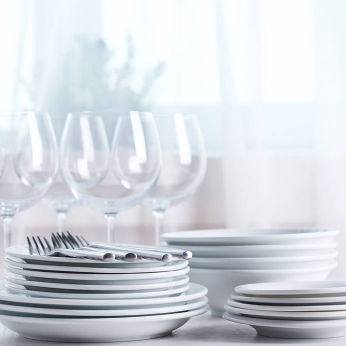 Check Plates, Glasses and Silverware