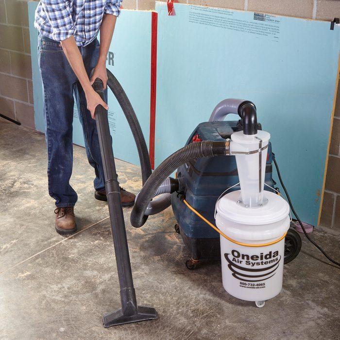 Dust deputy dust catcher attached to a shop vac   Construction Pro Tips