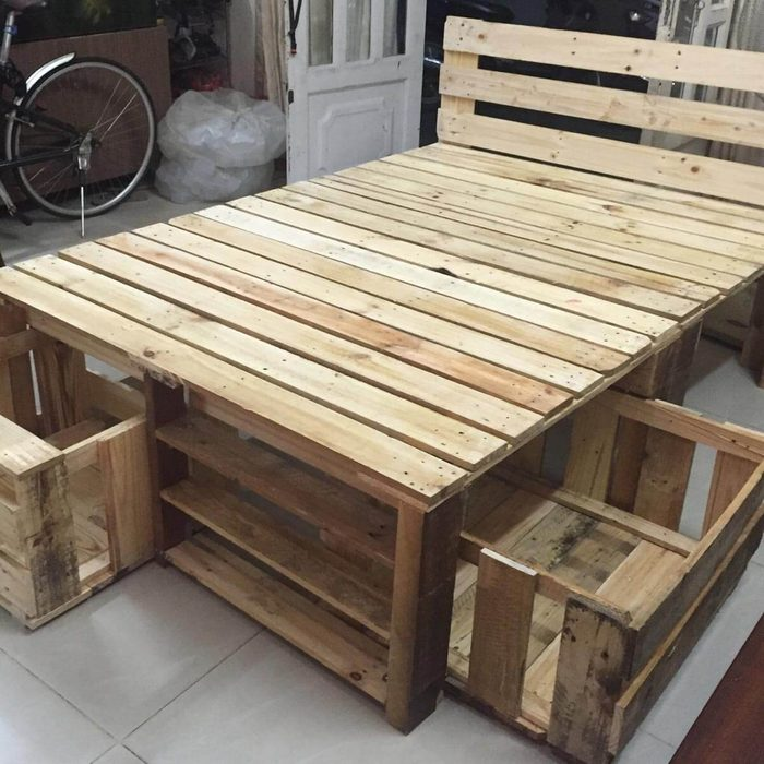 Pallet Bed Frame with Storage