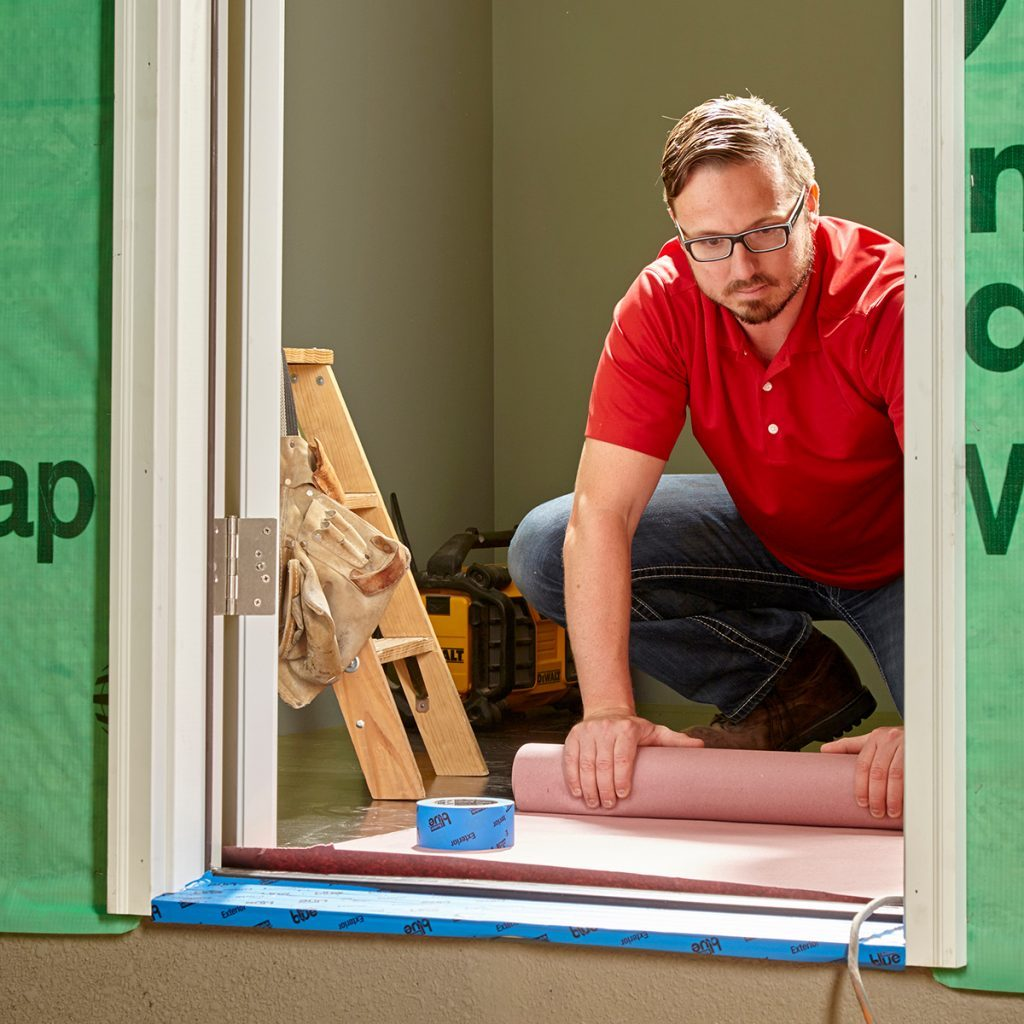 Setting up a covering over a door during a remodel