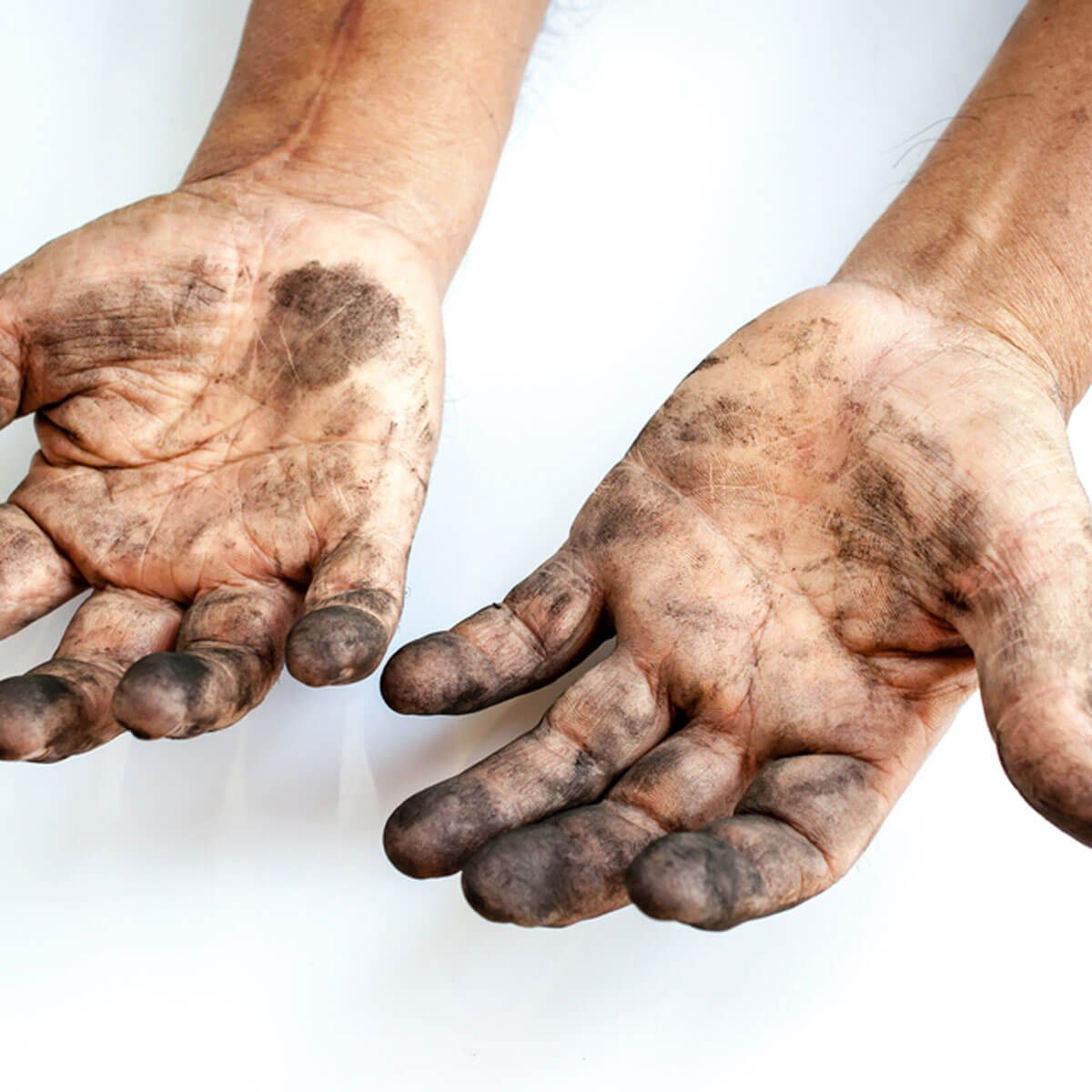 Dirty greasy hands