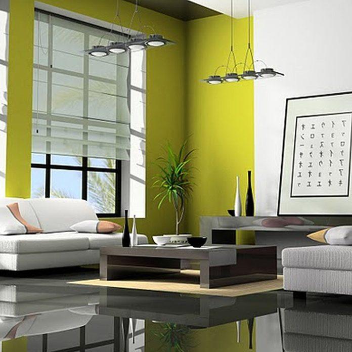 tech green living room wall color