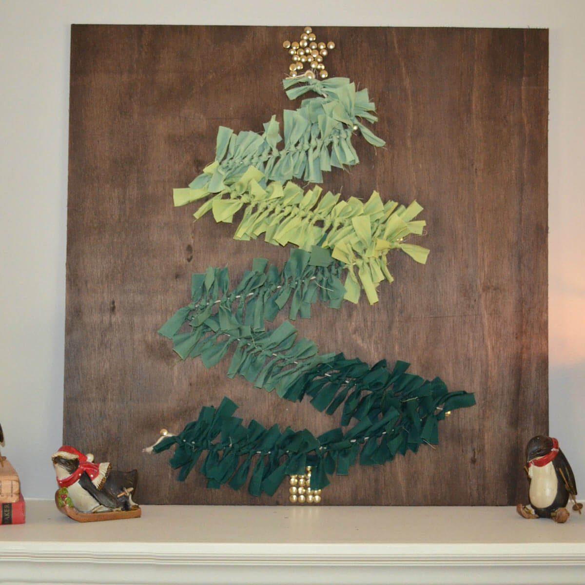 tree art christmas tree on reclaimed wood