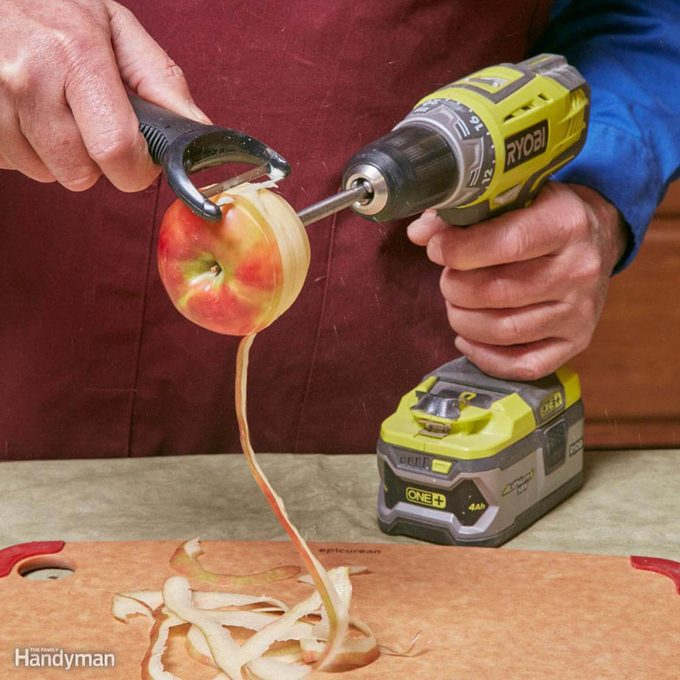 Peeling apples power tools