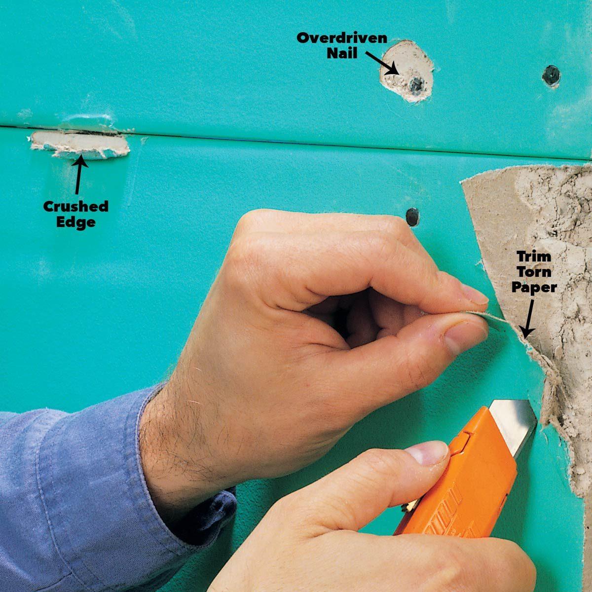 trim loose drywall