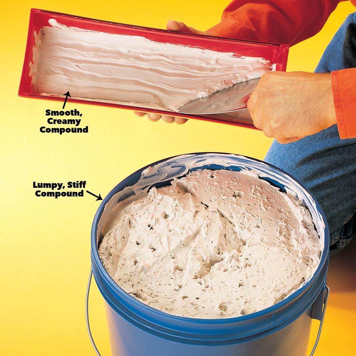 Stir premixed drywall compound