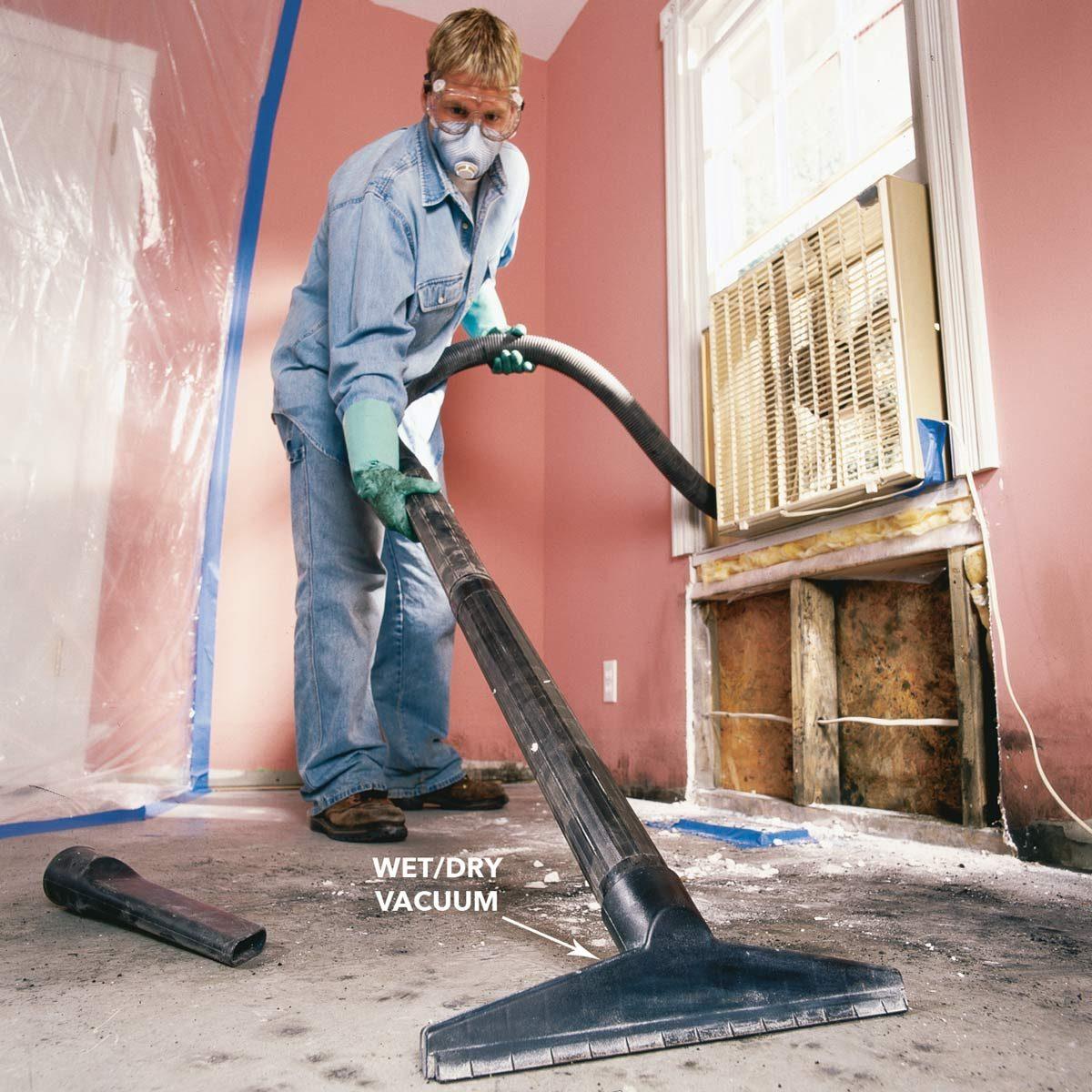 Vacuum moldy debris