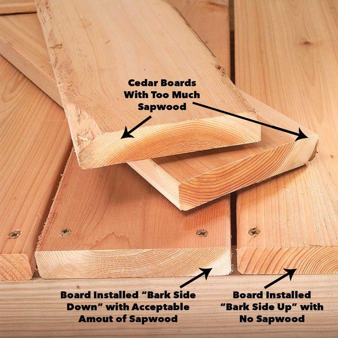 heartwood in cedar boards