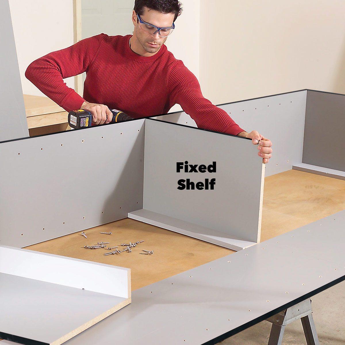 assemble garage shelves