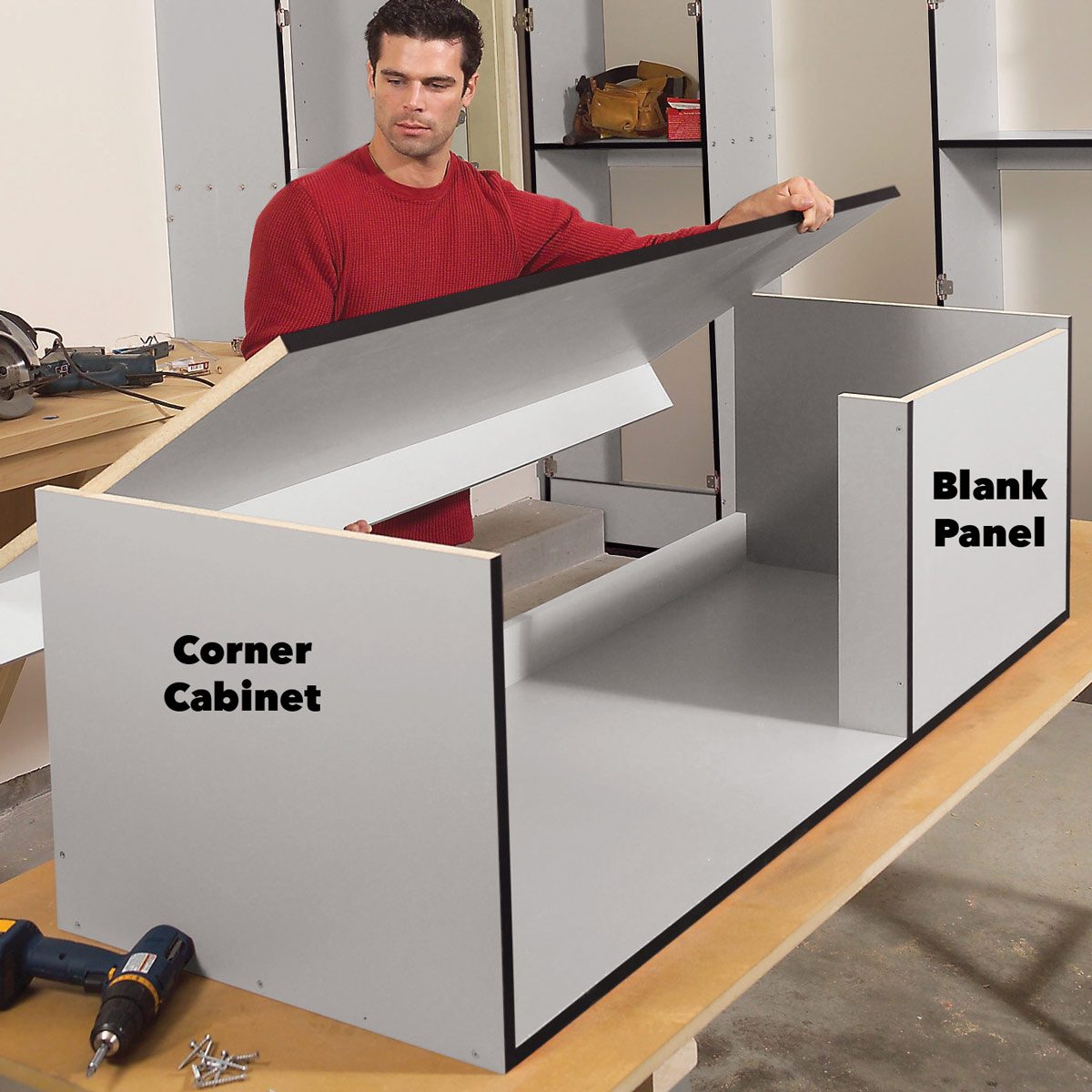 assemble upper cabinets