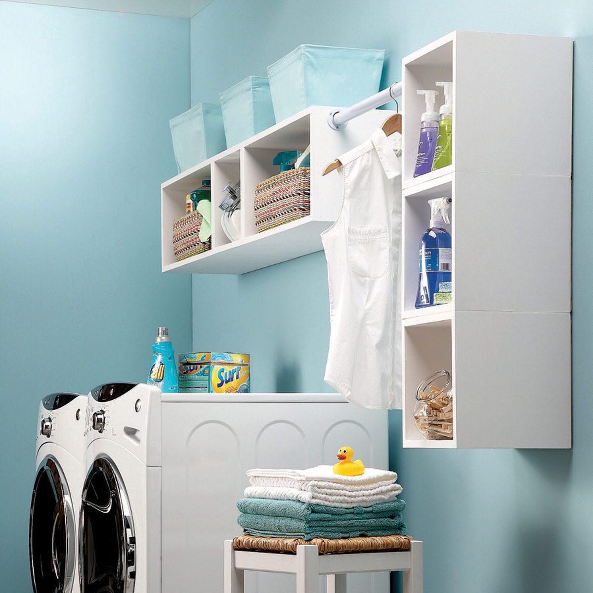 Box shelves laundry room organization