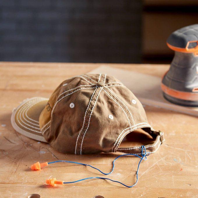 earplug tether on hat
