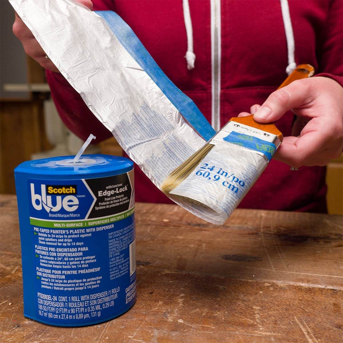pre-taped plastic to protect paintbrushes