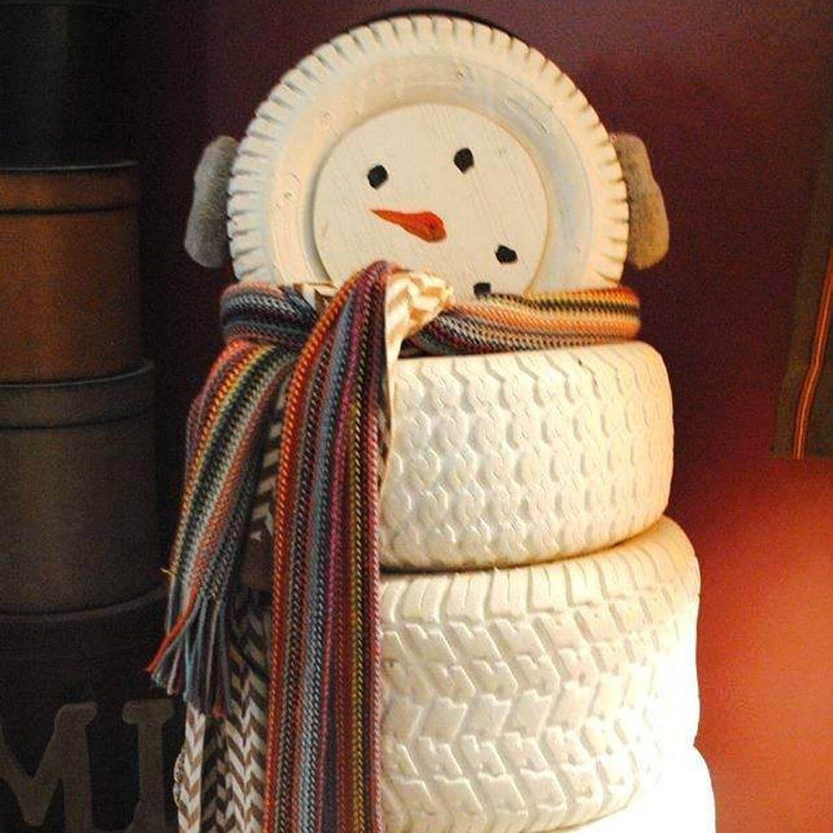 Recycled Tire Snowman