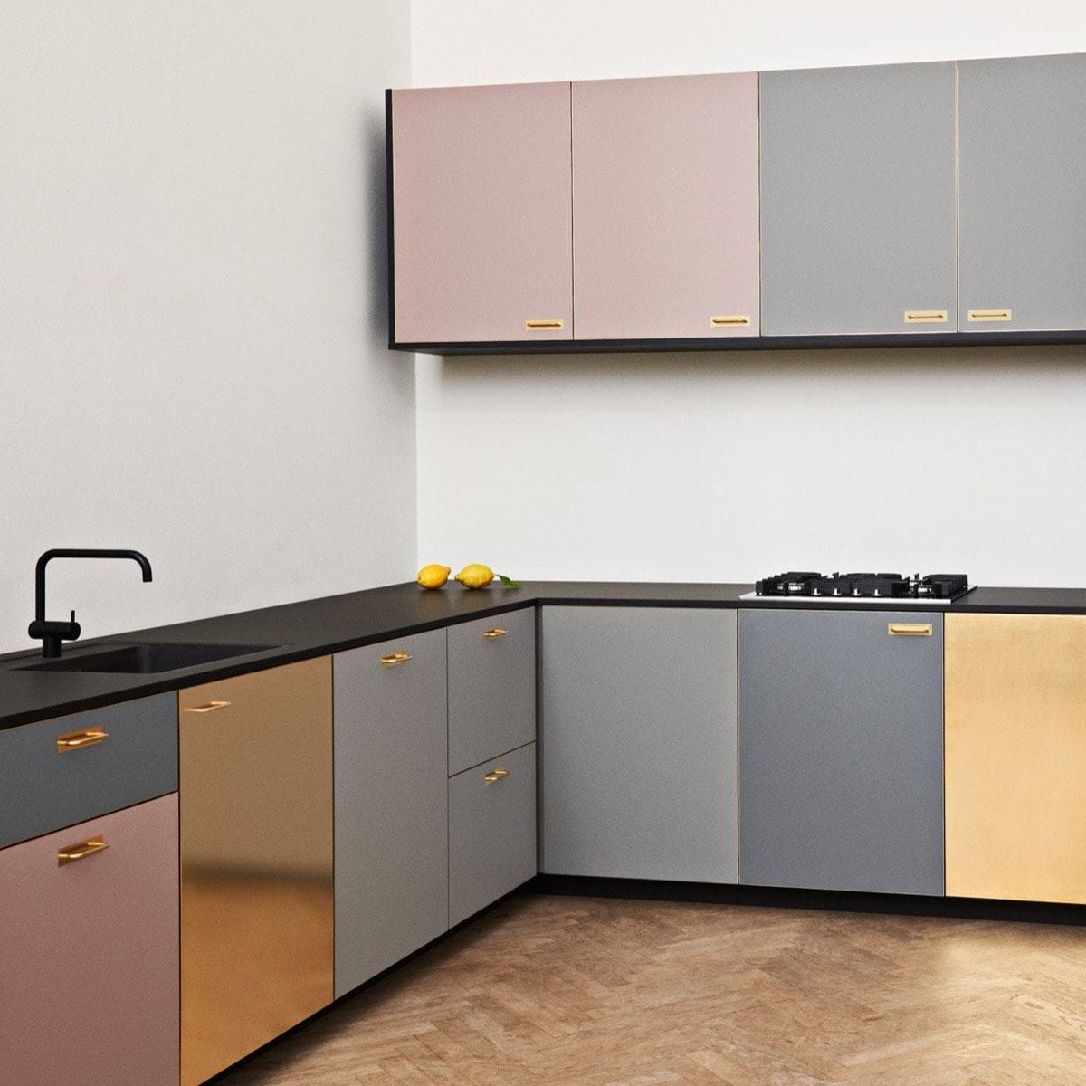 a_large cabinet fronts metallic