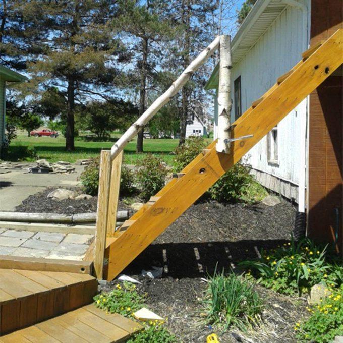 birch deck railing
