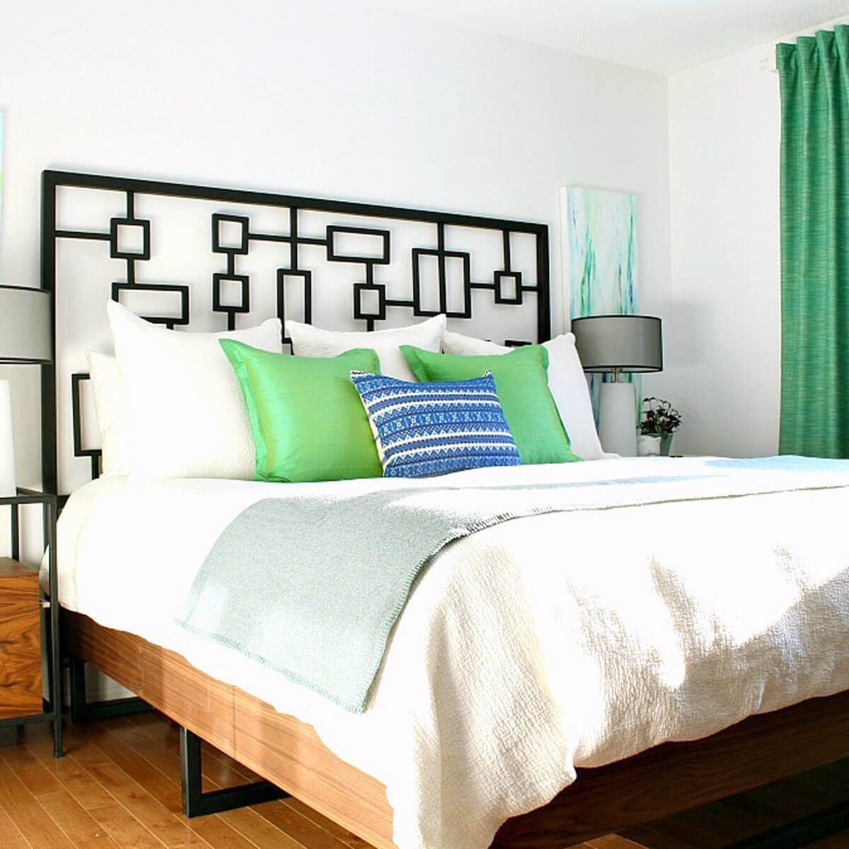 green-bedroom-decor diy bed frame