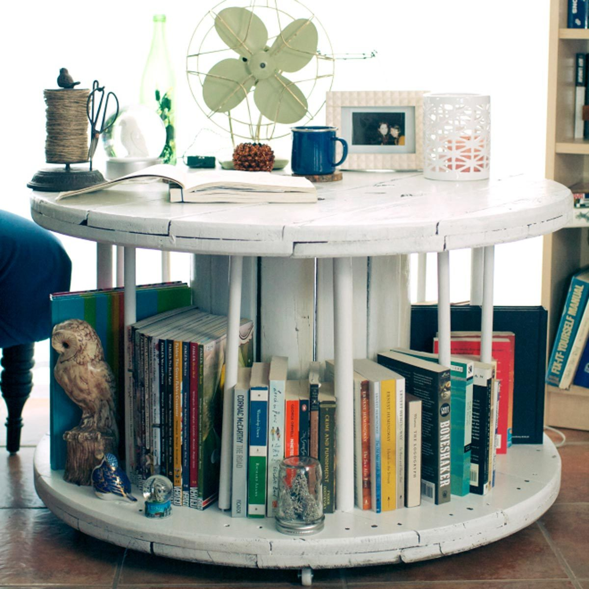 Reclaimed Wooden Spools end table