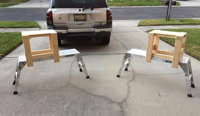 painting platform in driveway