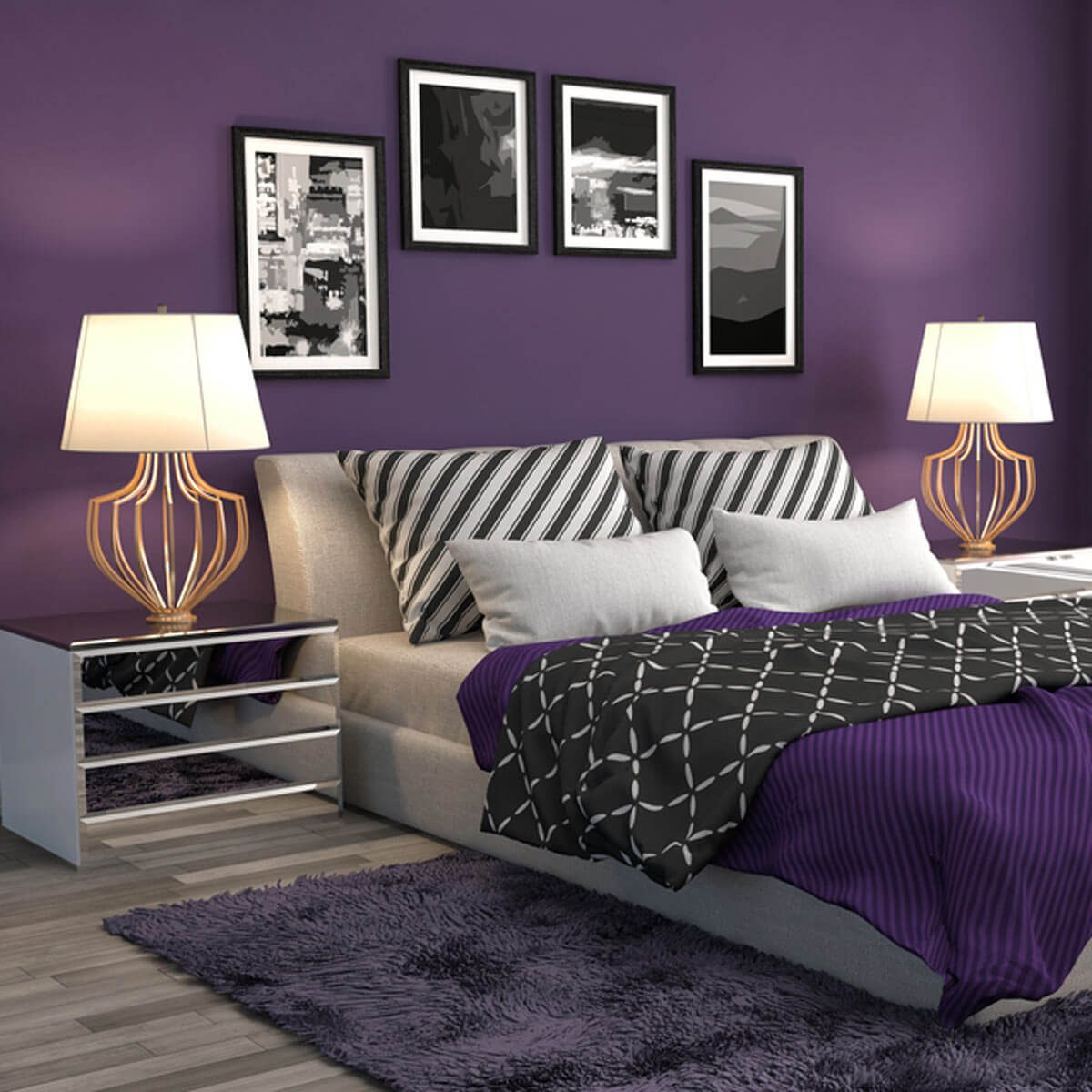 shutterstock_382997047 purple bedroom