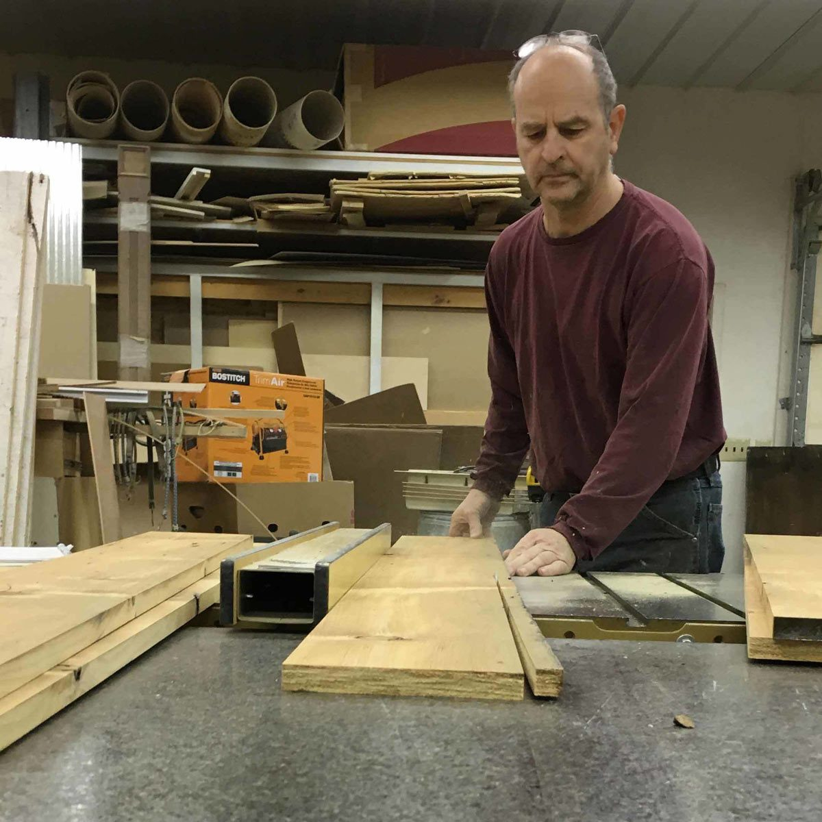 Rip boards to size on the table saw