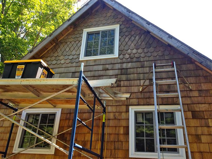 shingles added to tiny house