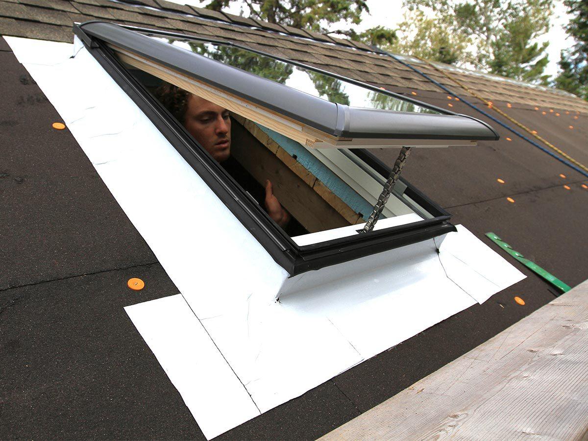 Tiny house skylight installed