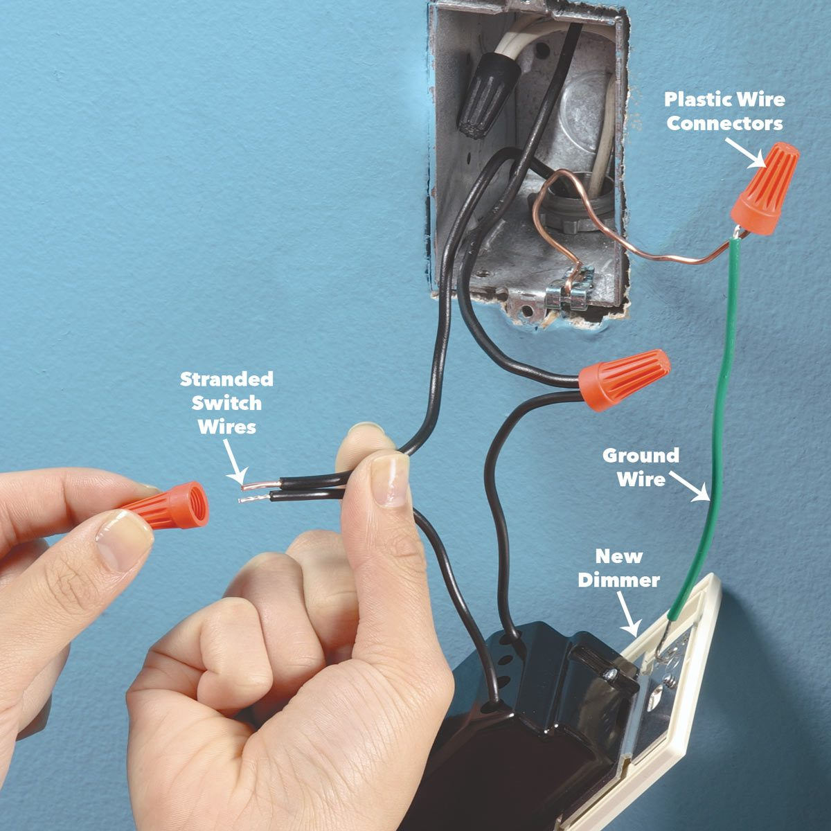 connect wires light switch