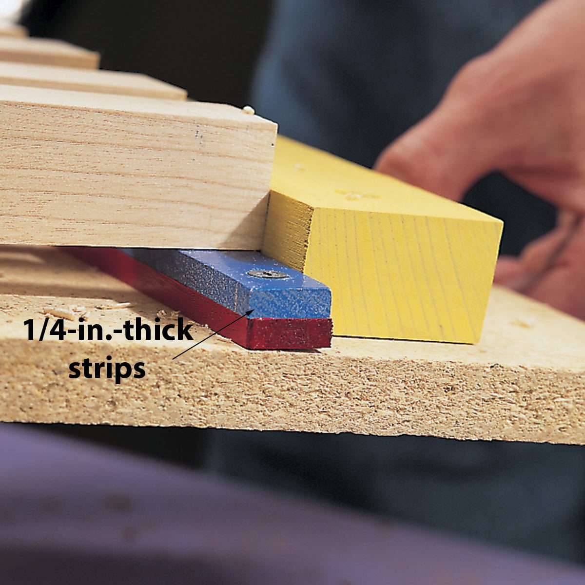 strips under tapered legs on a thickness planer