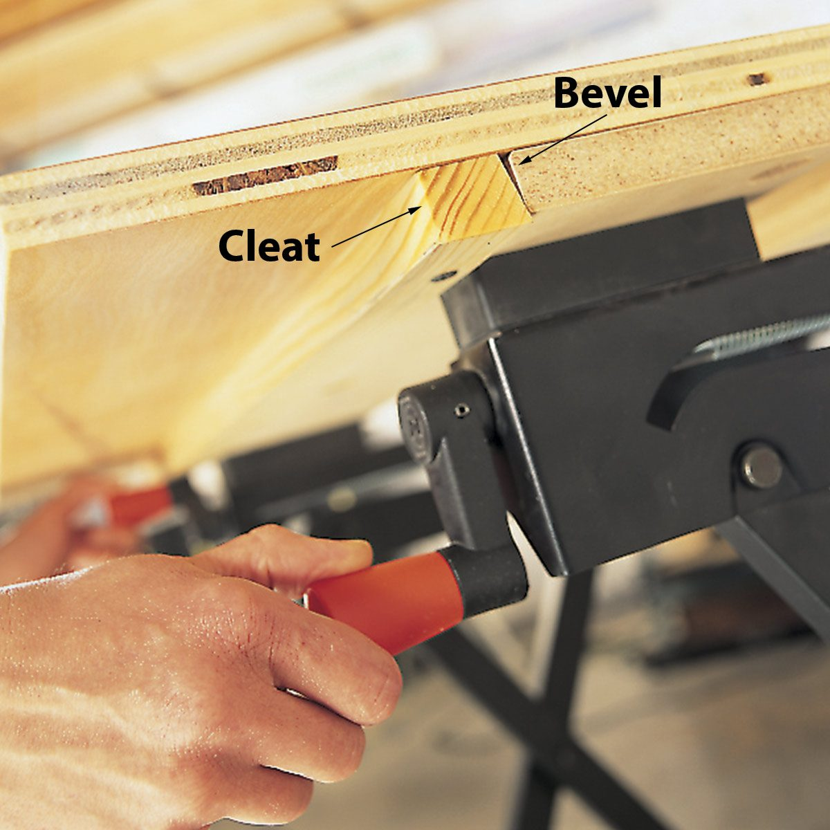 work table with clamped surface