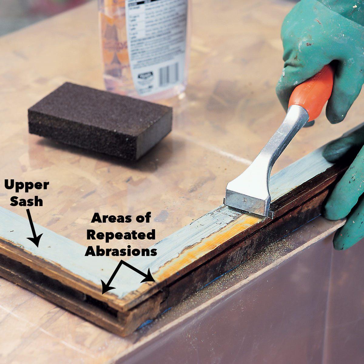 scrape lead paint sash edges