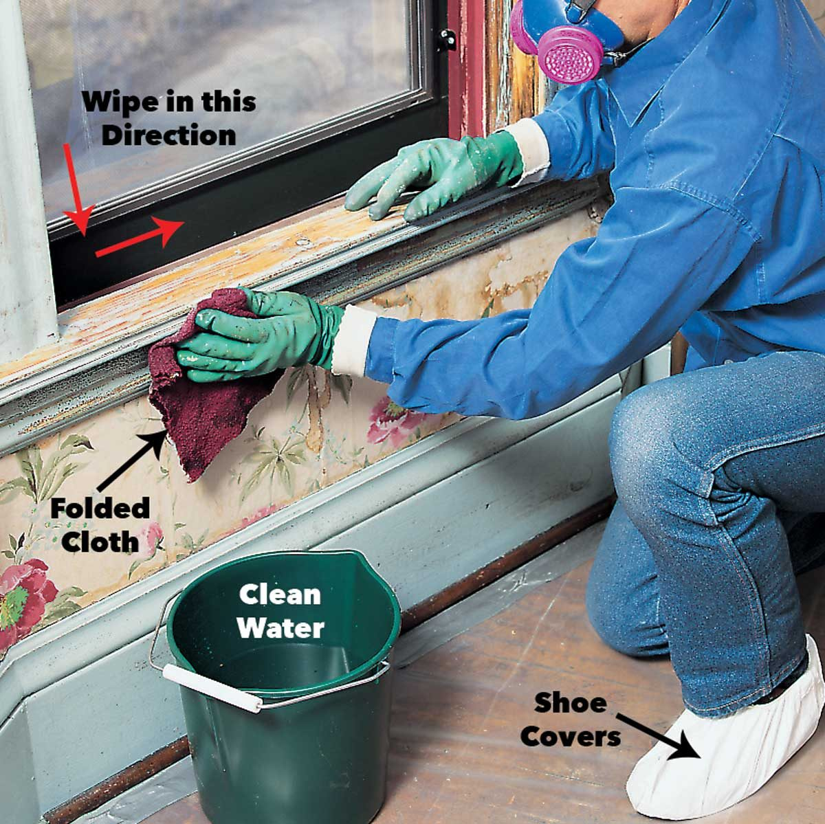rinse lead paint with clean water