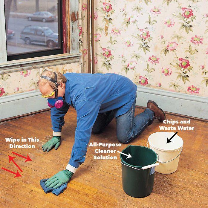 wash floor clean lead paint