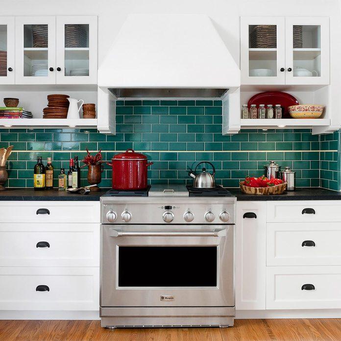 bright green backsplash kitchen remodel