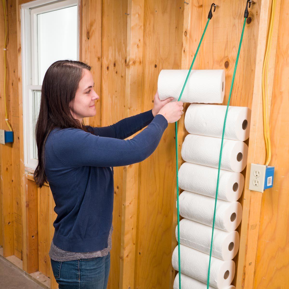 Bungee Cord Paper Towel Storage